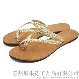 夏季套趾拖鞋女平底PU編織帶人字拖鞋