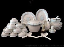 景德鎮正品釉上彩高檔小時代60頭歐式金邊優骨質瓷食具套裝