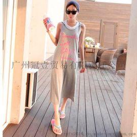 韩版夏季无袖背心裙长裙 时尚字母印花 休闲度假风连帽连衣裙