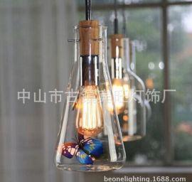爱迪生酒瓶灯北欧酒吧咖啡馆吧台餐厅红酒瓶玻璃创意单头吊灯