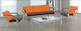 時尚橙色沙發辦公休閒沙發真皮沙發椅子