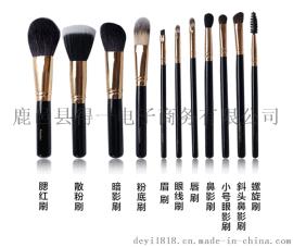 中国化妆刷之乡直销欧美爆款化妆套刷黑色黑包羊毛刷