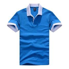 拓吉凯工作服P301-0300天蓝纯棉拉架珠地素色POLO衫