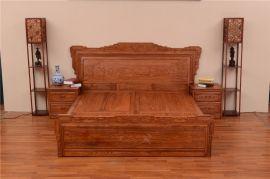 紅木家具大牀,花梨木檀雕花鳥大牀,臥室系列紅木家具