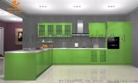 上海伟询果绿色3D纹理德国技术亚克力橱柜门板W-9112