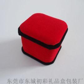 初彩首飾包裝D1-001絨布戒指盒 紅絨黑邊首飾盒現貨