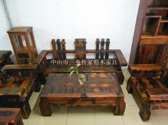 船木家具沙发,实木沙发6件套,带抽茶几。