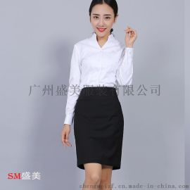 广州酒店制服定做办公室职业装,夏季职业装量身订制,盛美白云区职业衬衫制作厂家,款式修身