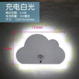 廠家雲朵人體感應小夜燈 led櫥櫃燈USB壁燈 走廊燈家居創意禮品