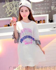 韩版夏季学院风t恤裙 个性字母印花 时尚七分袖圆摆连衣裙