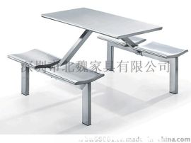 4人位不锈钢连体餐桌椅价格、四人连体餐桌