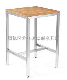 【家联家具】OT-590高档不锈钢拉丝户外休闲野餐塑木柚木餐台可拆