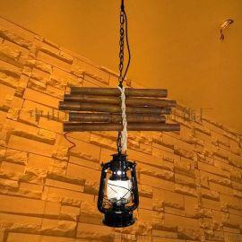 瑪斯歐自主研發開模竹排煤油吊燈復古美式鄉村風格MS-P9002餐廳酒吧吊燈