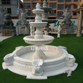 汉白玉欧式流水喷泉 家庭花园鱼池水钵价格