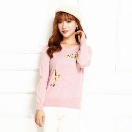 正品 繡花羊絨衫 女 純羊絨V領短款套頭毛衣 女 韓版 寬鬆打底衫