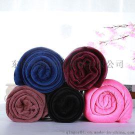 純色法蘭絨毛毯素色法萊絨小毯子禮品毛毯贈品膝蓋毯廠家批發定制