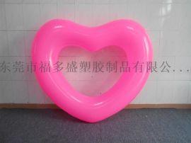 厂家订做PVC充气爱心泳圈  粉红心形泳圈