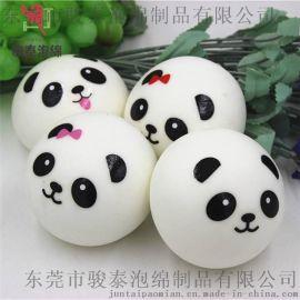 仿真PU卡通熊猫表情面包手机挂件 仿真慢回弹食品玩具