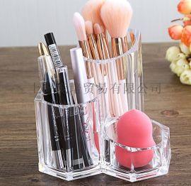透明水晶精美化妆笔筒 化妆刷组合式收纳盒