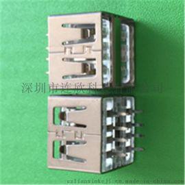 厂家生产USB2.0母座品质稳定2.0AF双层插座连接器