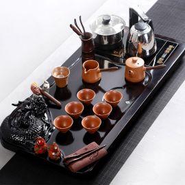 千禹茶具套装特价 整套功夫陶瓷冰裂茶海茶台佛盘套装