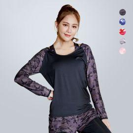 春秋冬新款瑜伽服跑步运动时尚迷彩印花宽领长袖女速干T恤厂家