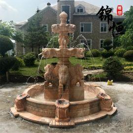 大型石雕喷泉欧式大理石晚霞红流水摆件别墅雕塑
