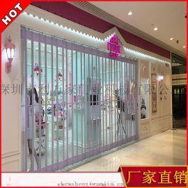 专业订制水晶折叠门 商场透明防盗门 电动卷帘门