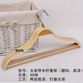 夹板木衣架天然木制作防滑条加坎槽
