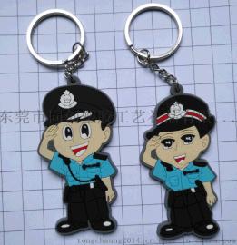 香港警察钥匙扣 PVC软胶印刷钥匙扣挂件 软胶手机吊饰