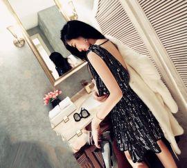 露背重工亮片钉珠短裙连衣裙宴会小礼服