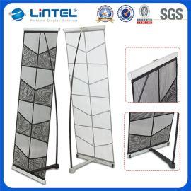 加强落地型L型尼龙折叠双排网架,铸铁底脚资料架,展示架,文件架