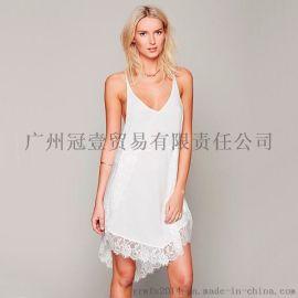 欧美时尚蕾丝不规则下摆拼接 性感吊带连衣裙睡衣裙