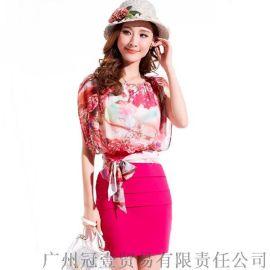 名媛风气质玫瑰印花雪纺衫+包臀短裙连衣裙套装【外贸女装大量现货批发】