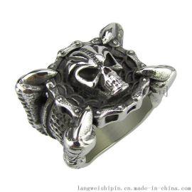 复古骷髅饰品 钛钢男士夸张大戒指 朋克巨爪骷髅头指环