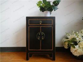 德盛堂新中式一屉二门仿旧床边柜做旧柜出口卧室储物柜平价床头柜
