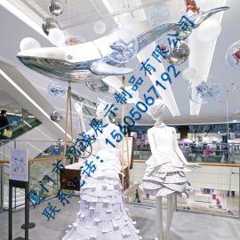 厦门玥诚玻璃钢鲸鱼橱窗装饰道具 玻璃钢海洋动物雕塑定制