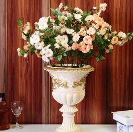 高档欧式仿真蔷薇花束摆件 假花装饰盆栽 整体花艺套装 义乌批发