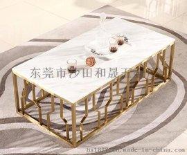 现代简约不锈钢大理石茶几电视柜组合欧式钢化玻璃茶桌方形大小户