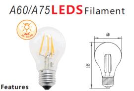 燈絲燈,LED球泡燈,A55/A60/A75,FILAMENT