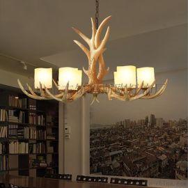 供应玛斯欧仿古美式复古六头鹿角带亚克力灯罩树脂餐厅吊灯MS-P2003-6 鹿角吊灯 铁艺材质吊链 E14可替换光源