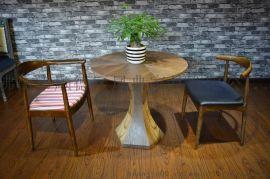 實木六方桌 辦公售樓處客廳奶茶店圓桌 可定制