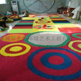 商场室内彩虹网设备   室内吊挂彩色绳网