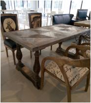 北歐復古做舊工業風 磚石實木拼花餐桌 防古實木咖啡廳餐桌特價