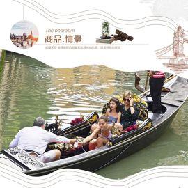 包郵中國歐式木漁威尼斯貢多拉遊手劃船酒店景觀裝飾模型服務類船