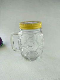 足球果汁把手杯,吸管杯,足球瓶盖,徐州玻璃杯厂家