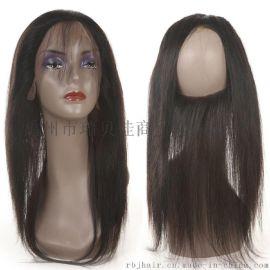360真人发块 全蕾丝发块前头配件 22x4x2inch 外贸欧美巴西真人发 直条