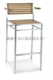 【家联家具】OP-732高档不锈钢拉丝户外休闲野餐塑木柚木餐椅