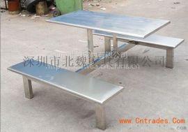 深圳市北魏餐桌椅家具有限公司专业生产不锈钢4人6人8人连体餐桌椅