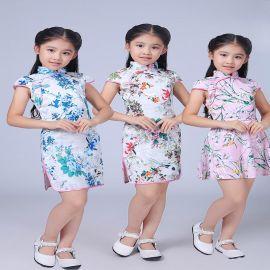 萌寶寶3061兒童旗袍中大童旗袍古箏演出服